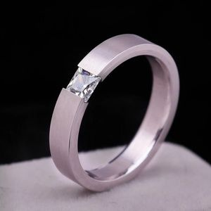 Size 8 Charming Stainless Steel Rhinestone Ring